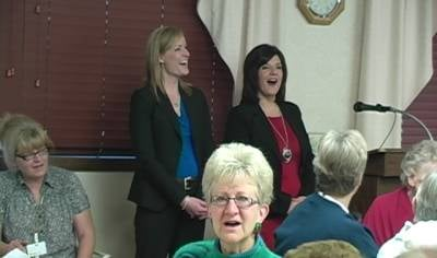 KTIV's Christy Batien and Sarah Te Slaa helped ring in the season at a Tree of Love Party at the Heritage Care Center in Emerson, Nebraska.