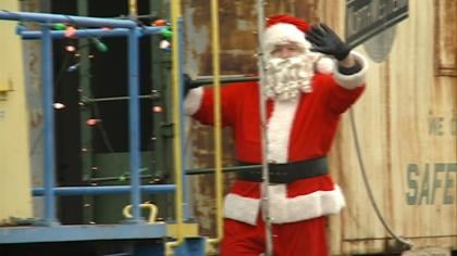 Santa making a stop at the Milwaukee Railroad Shops Historic District in Sioux City.
