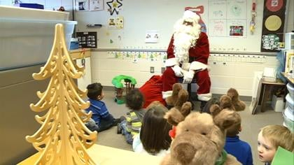 Santa stops by Leeds Elementary to say hello to students Wednesday afternoon.