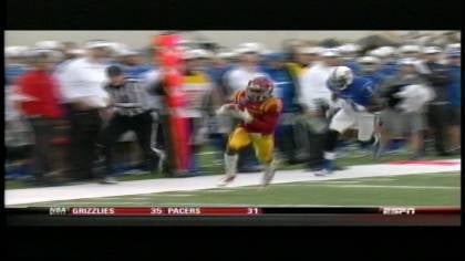 Jeremy Reeves returns an interception for a touchdown during Iowa State's loss to Tulsa in the Liberty Bowl.