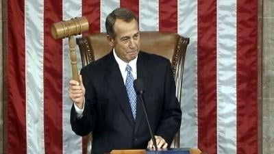 John Boehner took a few more shots as the new House re-elected him speaker.