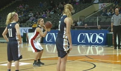 Emily Kirchner finishes with 17 points in the Midgets upset win over Heelan.+