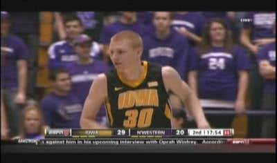 Aaron White scored 17 points as Iowa improved to 1-3 in Big Ten play.