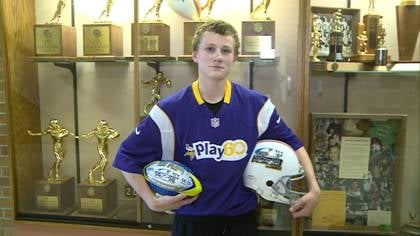 14-year-old Jay Small of Hinton won the Punt, Pass and Kick competition in the 14-15 year old age range.