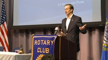 Sen. John Thune spoke at the Vermillion Rotary Club's meeting as part of his town hall tour.