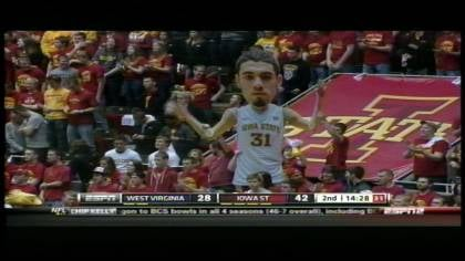 Freshman Georges Niang hit a layup with 2.5 seconds left and Iowa State beat West Virginia 69-67 Wednesday night.