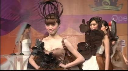 Models strutted their stuff in chocolaty designer threads.