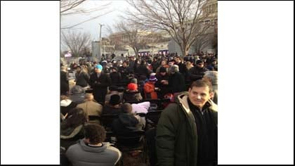 The crowd begins to gather for President Obama's Inauguration.