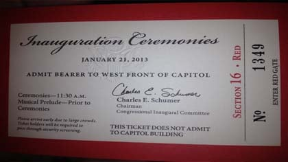 Alta, Iowa's Rob Hach took this picture of his ticket for President Obama's Inauguration.