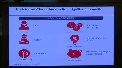 Outline of potential economic impact of Rock Island Clean Line project.