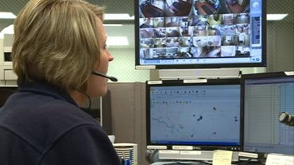 A dispatcher at Plymouth Co. Communication Center monitoring emergency calls alone.