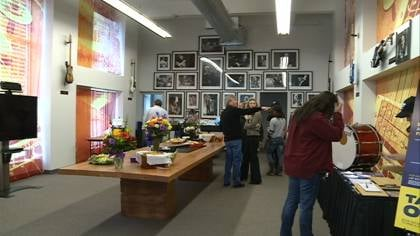 Sioux City Entertainment's new development office in Sioux City features music memorabilia.