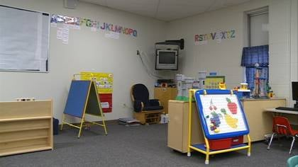One of the rooms where kids play in the current child care center located inside of Demoney Elementary School in Estherville.