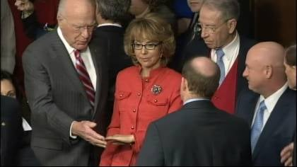 Iowa Republican Charles Grassley was among those who welcomed Gabrielle Giffords to a senate hearing on gun violence Wednesday in Washington, D.C.
