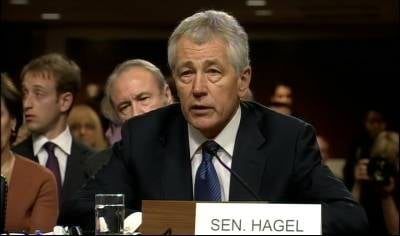 Former Nebraska Sen. Chuck Hagel answers questions at the U.S. Senate committee hearing.