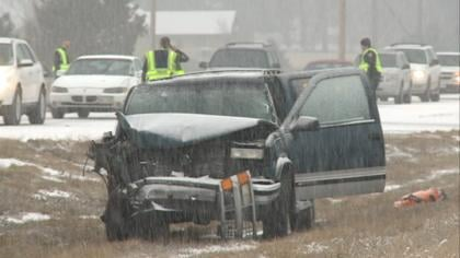 One of the vehicles involved in a car accident on US Highway 75 on Saturday.