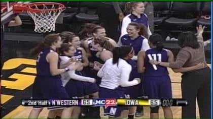 Northwestern celebrates following its victory over No. 24 Iowa.