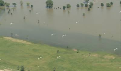 An aerial view of inundated South Sioux City soccer fields during the flood of 2011.