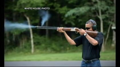There is more reaction to a White House photo of the President skeet shooting at Camp David.