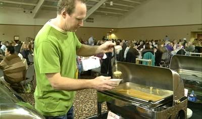 "Many ate soup for the Food Bank of Siouxland's 9th ""Empty Bowls"" fundraiser."