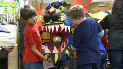 Clark Elementary students brought this dragon through the parade to celebrate the Chinese New Year.