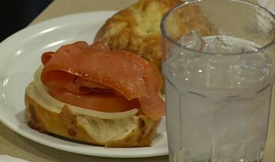 Plate of bagel and lox at the Green Gable Restaurant in Sioux City.
