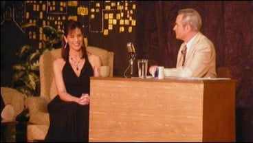 Kristie VerMulm gets interviewed by Johnny Carson impersonator Jim Malmberg at Donna Reed Theatre in Denison, Iowa.