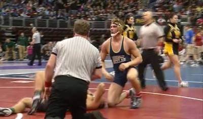 Bishop Heelan's Christian Brobst improved to 50-1 with a first round win at the state tournament.