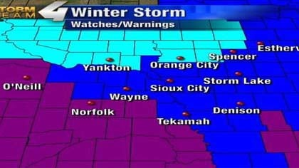 Winter Weather Advisory is in teal, in Winter Storm Warning is in purple, and Winter Storm Watch is in blue.