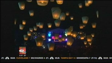 Hundreds of lanterns were released into the sky over a city in Taiwan.