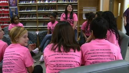 Students are wearing different colored shirts every day, to promote awareness of bullying in schools.