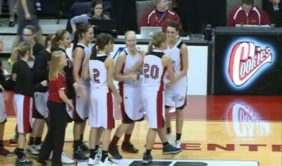 Estherville Lincoln Central celebrates their 49-46 win over MOC-FV on Thursday.
