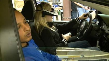 Students took a 45 second virtual reality course to learn the dangers of distracted driving.
