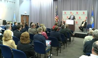 A press conference was held on the University of South Dakota's campus to discuss the expansion of Eagle Creek Software Services into Vermillion.