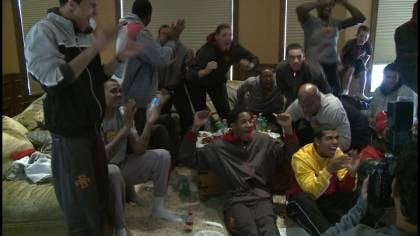 Cyclone players celebrate after receiving and NCAA Tournament berth.