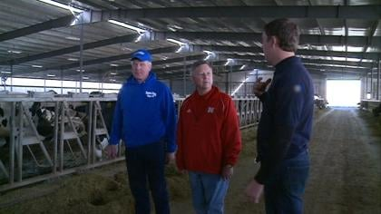 Nebraska Governor Dave Heineman touring Temme Dairy Farm.