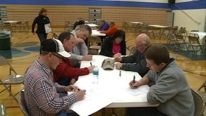 Many came to the table for a brainstorming session on improving Moville's community.