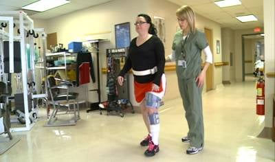 Sara Scott is learning how to walk again with the help of the Bioness L300 Plus.