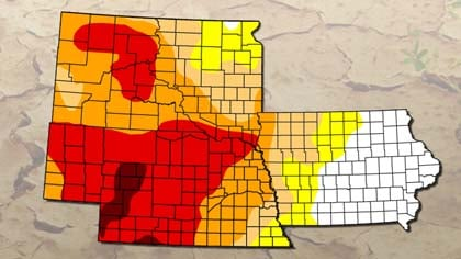 May 7th South Dakota, Nebraska, and Iowa Drought map. Yellow is abnormally dry, peach is moderate, orange is severe, red is extreme, and dark red is exceptional.