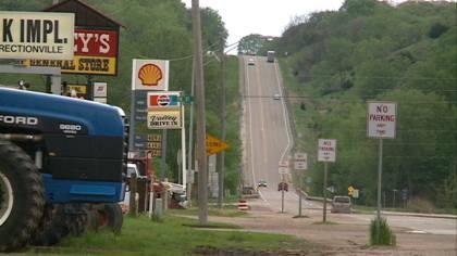 Highway speeds drop below 55 mph in Correctionville, Iowa.