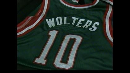 Milwaukee display's Wolters' jersey during Friday's press conference.