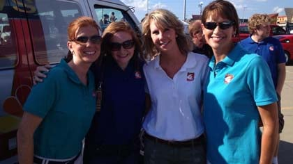 "KTIV's Kristen Johnson, Stephanie Ross, Emily Morrison, and Kristie VerMulm getting ready to ""Fling Bings""!"
