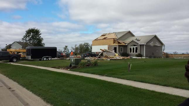 Tornado took out the garage and roof on this house in Wynstone.