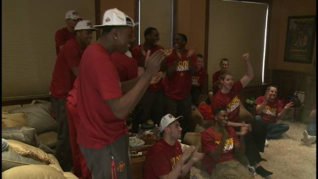 Iowa State celebrates it's NCAA Tournament seed.