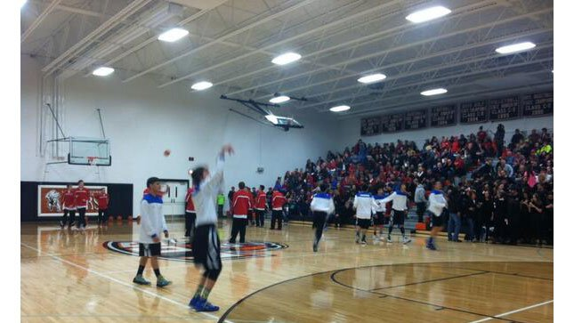 All about the follow thru. Winnebago and Randolph warming up for boys side of LCC Finals. Action at 10 on @ktivsports