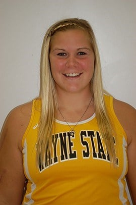 Wayne State's Sara Wells is the NSIC Outdoor Field Athlete of the Year.