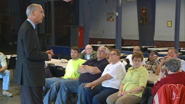 U.S. Senate candidate Dave Domina held a town hall meeting in South Sioux City, Neb. Wednesday.