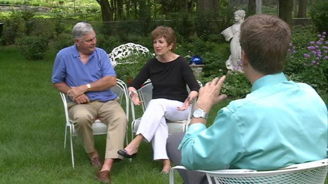Dick and Pat Collins share their experiences with KTIV's Al Joens in the backyard of their Sioux City home