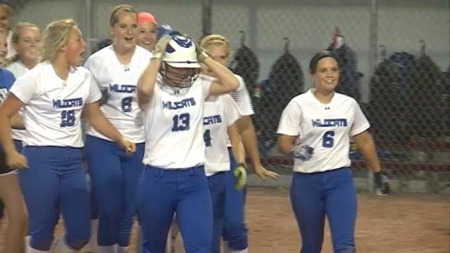 Woodbury Central celebrates after their 4-3 win over MV-AO on Tuesday.