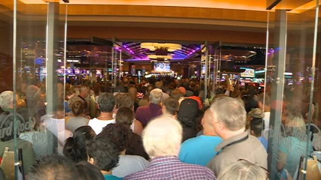 Hundreds of people flocked to the opening of the Hard Rock Hotel and Casino Friday.